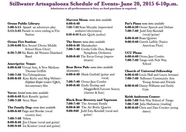 Artsapalooza 2015 schedule
