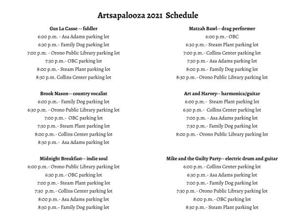 Artsapalooza Schedule